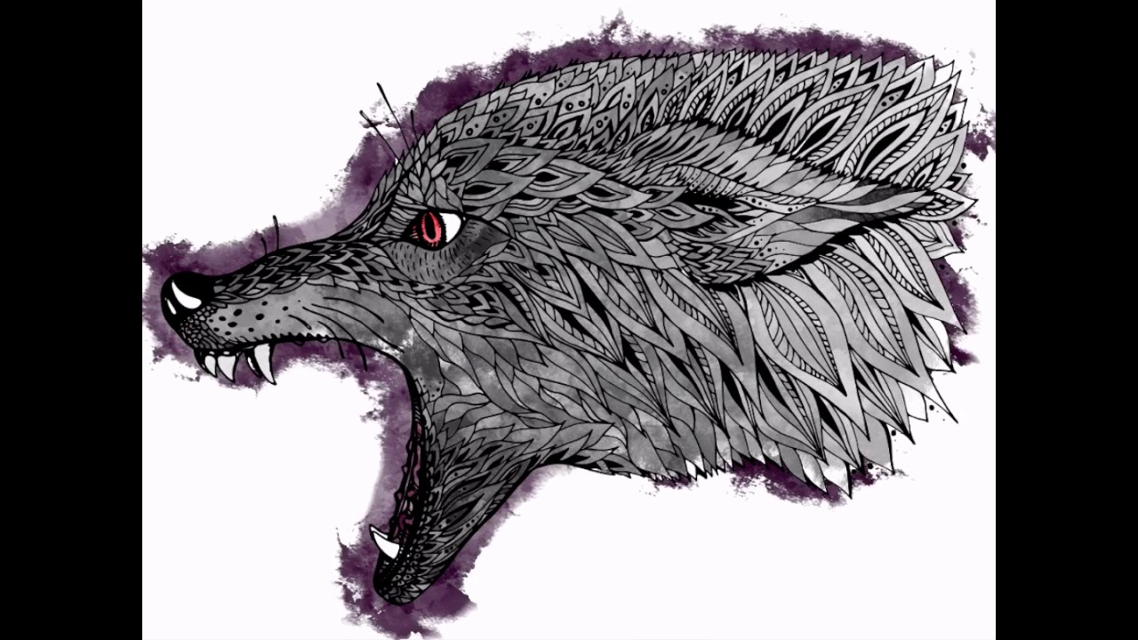 Cool wolf drawing - YouTube