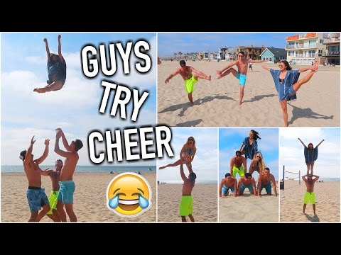 Guys Try Cheer For the First Time! lol - California vlog