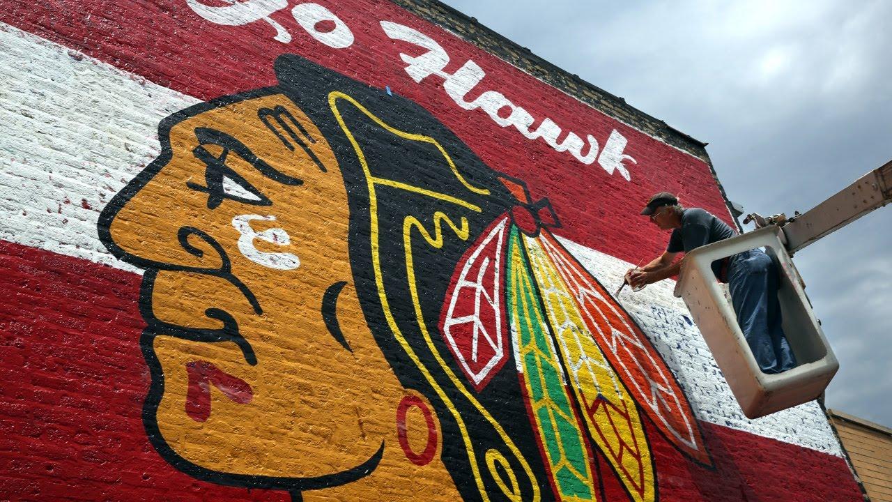 Giant Blackhawks Mural Painted On Brick Wall Youtube