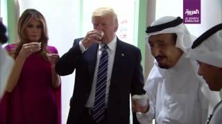 King Salman, Trump and Melania sample traditional Saudi dates and coffee