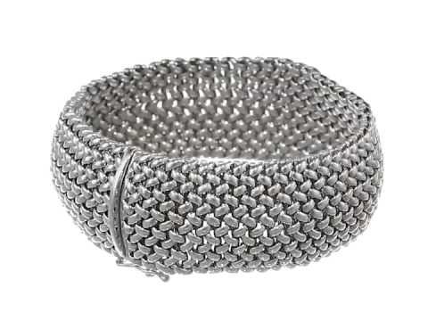 Sterling Silver Italian Rhodium Plated Ay Mesh Bracelet