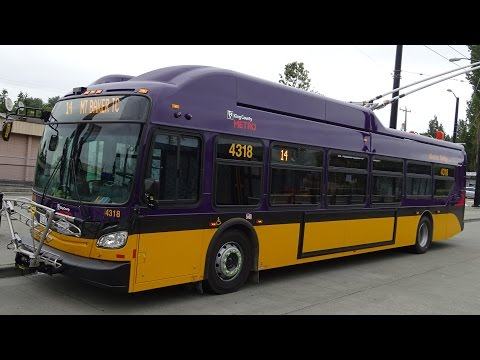 BEAUTIFUL NEW TROLLEYBUS!!! King County Metro BRAND NEW 2015 New Flyer Xcelsior XT40 4318 on Rt. 14
