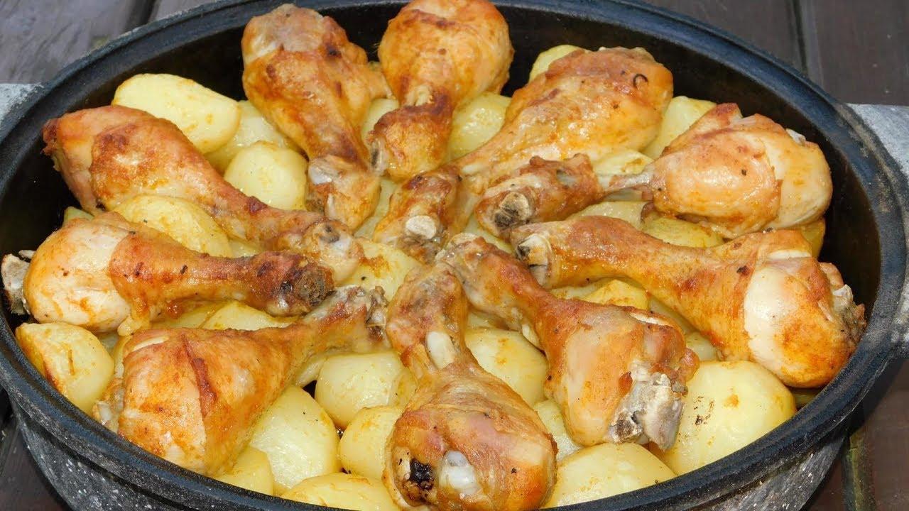 Запечeные куриные ножки с картофелем в