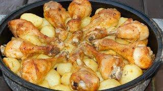 """Запечeные куриные ножки с картофелем в """"духовке"""" ))) или на углях."""