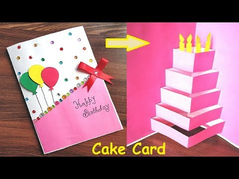 DIY - CAKE Pop-Up Card For Birthday | Easy 3D Card For Birthday | CAKE Pop-Up