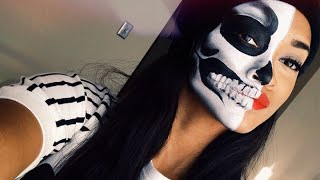 Flesh & Bones Half Skeleton Halloween | Makeup Tutorial Thumbnail