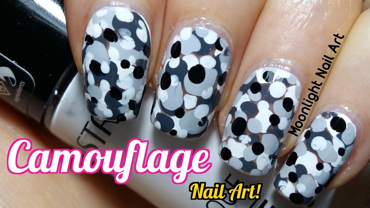No Tool Nail Art Camouflage Nail Design Tutorial Youtube