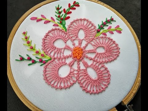 Hand Embroidery  Fantasy Flower Stitch With Bead Stitch  Flower Embroidery Stitches By Hand