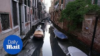 Venice's famous canals dry up after low tide & lack of rain