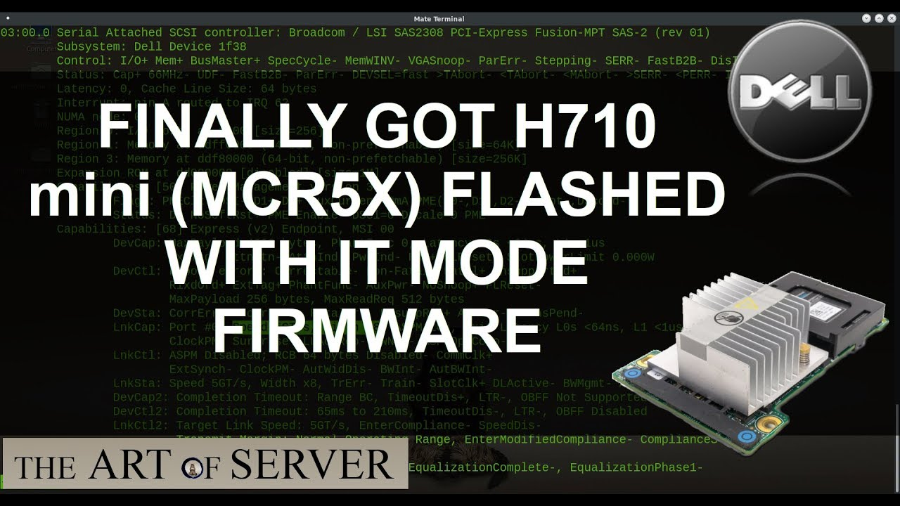 Finally got H710 mini MCR5X flashed with IT mode firmware
