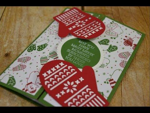 Cute Christmas Mitten Gatefold Card Tutorial Handmade