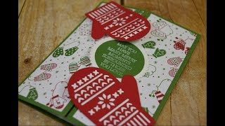 Cute Christmas Mitten Gatefold Card Tutorial ~ handmade Christmas cards