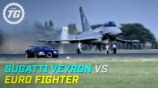 Top Gear : Bugatti Veyron vs Euro Fighter - Top Gear - BBC(Watch in HQ here https://www.youtube.com/watch?v=CqGZqyUwxZc 1 million subscribers and counting! To celebrate, we're giving the fans what they want -- our ..., 2008-08-17T00:25:36.000Z)