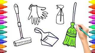 Cleaning Set Coloring Book Drawing for Kids -Cleaning Materials Coloring Pages #ColoringPainting -15