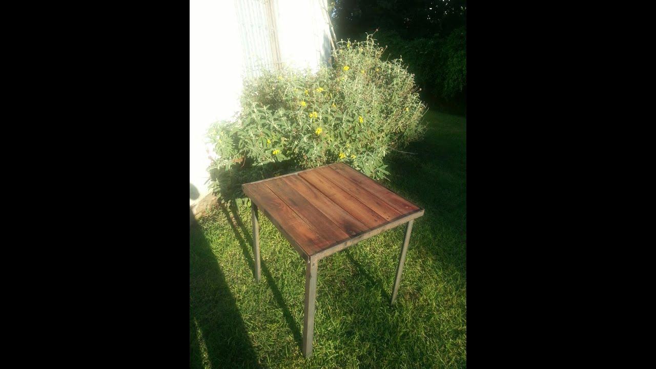 Mesa rustica de hierro y madera youtube for Mesa hierro y madera
