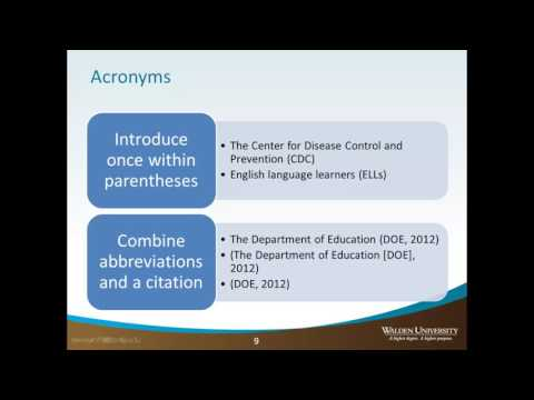 Abbreviations - Other APA Guidelines - Academic Guides at Walden