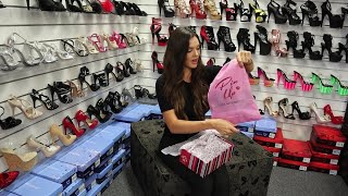Review Try Out Pin Up Couture BELLE-301BOW 3 Inch Flower Filled High Heel Shoes Unbox With Amanda