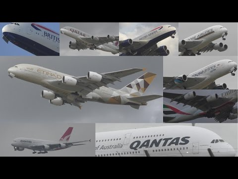A380 by Qantas, Etihad, Singapore, Malaysia, Emirates London Heathrow Airport with ATC