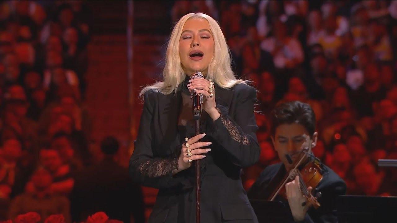 Christina Aguilera sings 'Ave Maria' at Kobe & Gia Bryant memorial