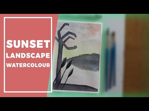 Sunset Landscape Watercolour Painting // NDA