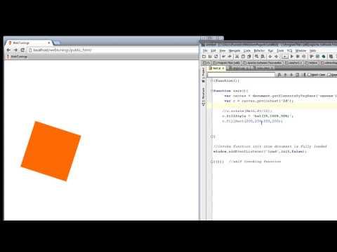 JavaScript Tutorial - HTML5 Canvas - Rotate transformation - part 29