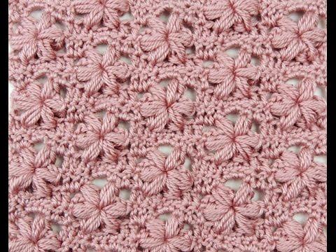 Crochet: Punto Puff con Flor Variación - YouTube