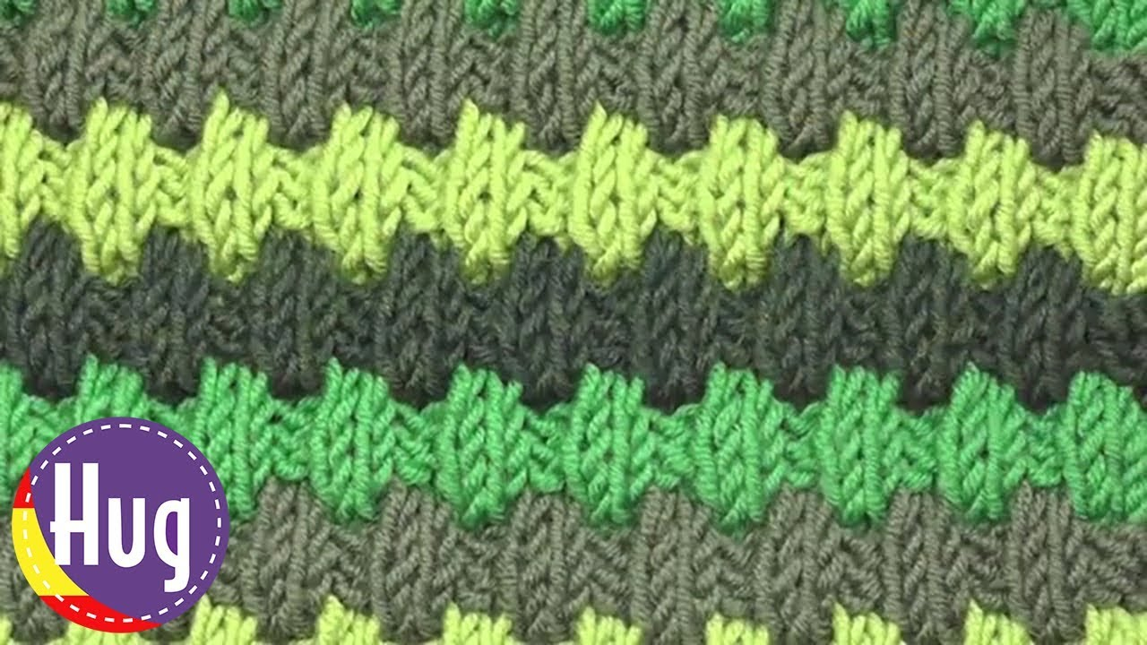 Tejido dos agujas - Patrón de tejido con líneas en relieve ...