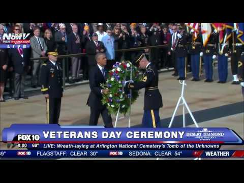 FNN: President Obama's Final Wreath-Laying Ceremony at Arlington National Cemetery on Veteran's Day