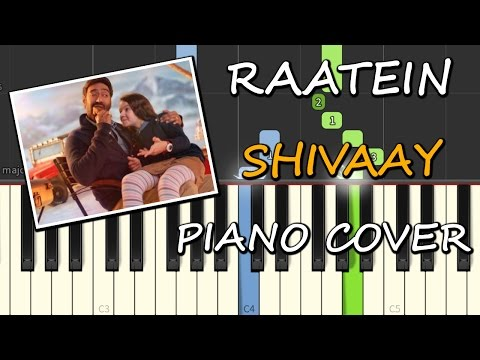 Raatein Cover Song|Piano|Shivaay|Chords+Tutorial+Lesson+Instrumental+Karaoke|Ajay Devgn