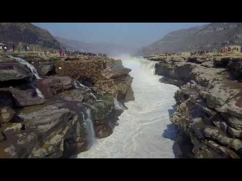 Hukou Waterfall on the Yellow River Aerial Drone Footage