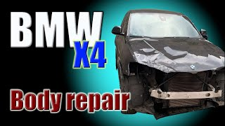 BMW X4 (F26). The front end repair. Ремонт переда.