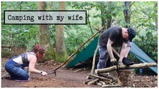 Tarp Camping in a Thuฑder Storm | Camping with My Wife | Tarp Shelter | Camping in the Rain