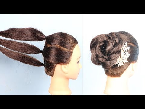 Beautiful Rose bun hairstyle with trick || flower bun || wedding hairstyle || hair style girl