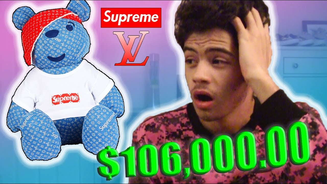386872628b7b WORLDS MOST EXPENSIVE TEDDY BEAR!?! Supreme x Louis Vuitton Pudsey Bear  Collab - Vlog #4