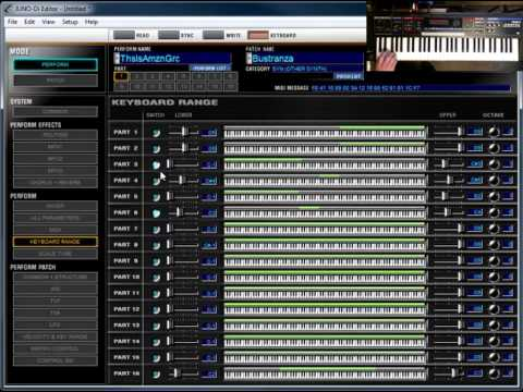 Roland Juno-di Editor Software Tutorial 2: Keyboard range, parts of a  perform, All Parameters screen