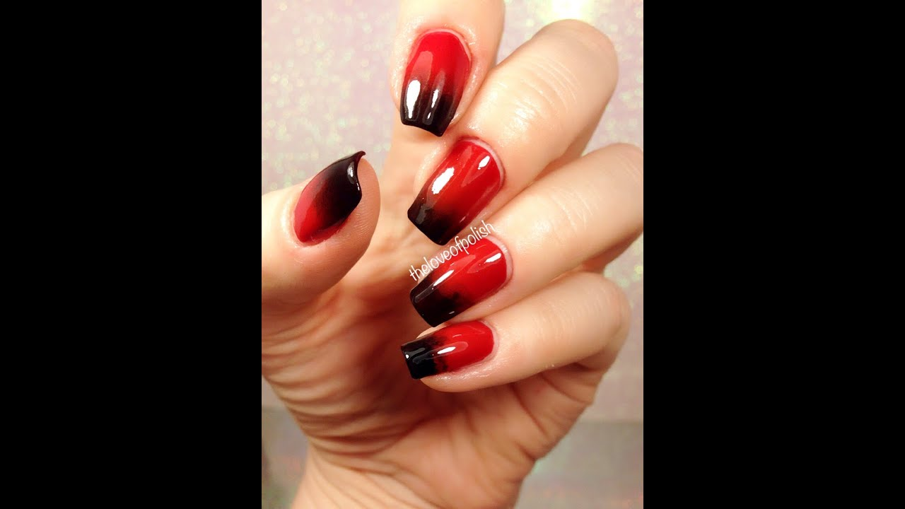 red black gradient nails