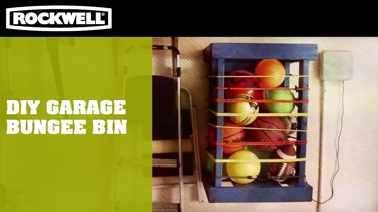 DIY Garage Bungee Bin   YouTube