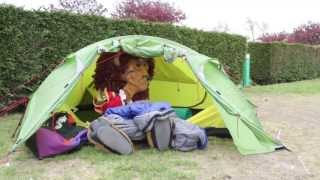 Louie the Lion goes camping! Louie tries out his new tent at Vauxhall Holiday Park, Great Yarmouth