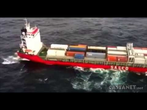 Container ship adrift