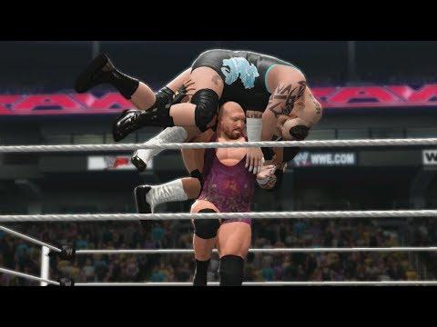 WWE 2k14 • Double Shellshock de Ryback sur Brodus Clay et Tensai !