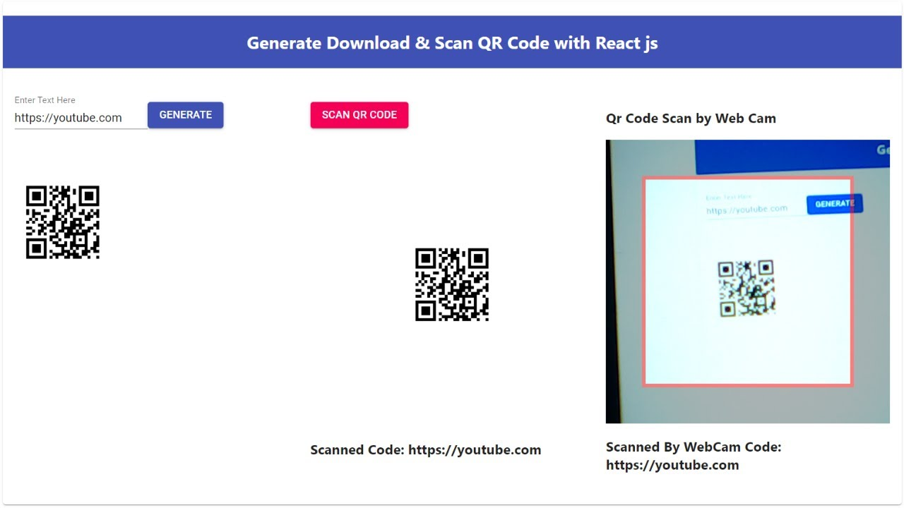 Generate Download & Scan QR Code with React JS