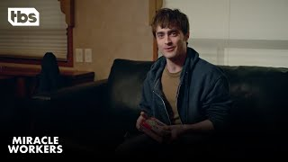 Watch all new episodes of Miracle Workers Tuesdays at 10:30/9:30c on TBS. #DanielRadcliffe #MiracleWorkers #TBS  SUBSCRIBE: http://bit.ly/TBSSub  Download the TBS App: http://bit.ly/1qBbkMW  About Miracle Workers: The first season of anthology series Miracle Workers will be a Heaven-set workplace comedy based on Simon Rich's book What in God's Name, starring Daniel Radcliffe, Steve Buscemi, Geraldine Viswanathan, and Karan Soni. Radcliffe will play Craig, a low-level angel responsible for handling all of humanity's prayers, and Steve Buscemi will play Craig's boss God, who has pretty much checked out and is ready to move on to his next project. To prevent Earth's destruction, Craig and fellow angel Eliza (Geraldine Viswanathan) must answer a seemingly unanswerable prayer: help two humans fall in love.  Miracle Workers is created by Man Seeking Woman creator Simon Rich and executive produced by Lorne Michaels and Andrew Singer of Michaels' Broadway Video, Simon Rich, Daniel Radcliffe and Steve Buscemi. Broadway Video produces the series in association with Turner's Studio T.  About TBS:   The home of The Last O.G., Angie Tribeca, Full Frontal with Samantha Bee, Conan, Wrecked, Search Party, The Detour, The Guest Book and American Dad.  Get more TBS:   Full Episodes: http://www.TBS.com/shows/   YouTube: http://www.YouTube.com/TBS   Twitter: https://Twitter.com/TBSNetwork Facebook: http://Facebook.com/TBSNetwork   Instagram: https://Instagram.com/TBSNetwork    Miracle Workers: An Evening with Daniel Radcliffe in a Trailer | TBS https://youtu.be/7Nty_VhfIUQ  TBS http://www.YouTube.com/user/TBS