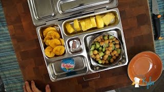 School Lunch Garbanzo Beans And Cukes, Pineapple, Cheese And Plantain Chips(part 4)  #49
