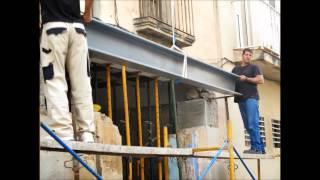 Colocación de 2 HEB, en rehabilitación, para dintel de puerta de garaje
