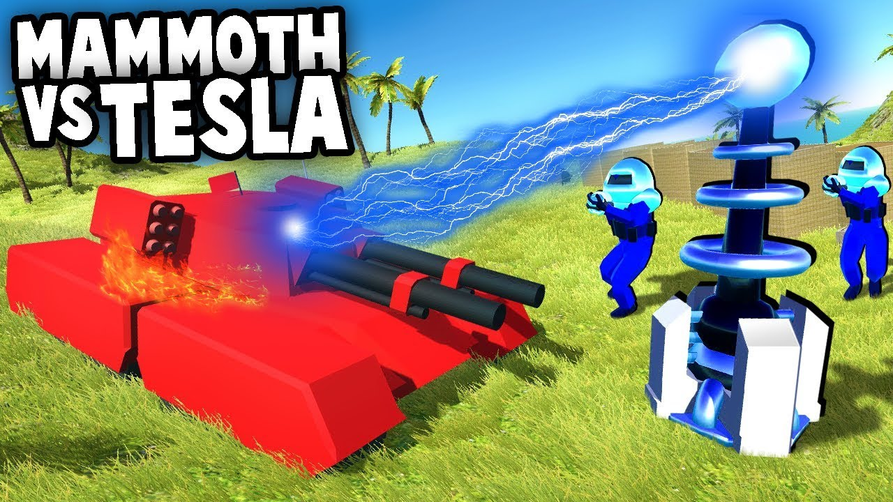 MAMMOTH Tank vs Tesla Coils (Ravenfield Command and Conquer Mod Gameplay)
