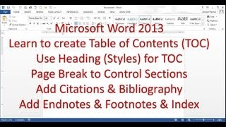 Microsoft Word 2013/2016 pt 7 (Table of Contents, Bibliography, Endnote, Index)