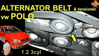 VW #Polo 9N 1.2 3 Cyl Serpentine Belt & Tensioner Auxiliary Alternator Change Replace how to remove(, 2016-10-02T21:24:36.000Z)
