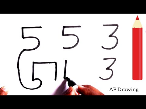[ Hindi ] how to draw dog from 553 113  number step by step - very easy drawing
