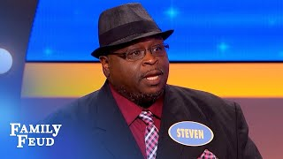 Steven has Steve Harvey dying laughing! | Family Feud
