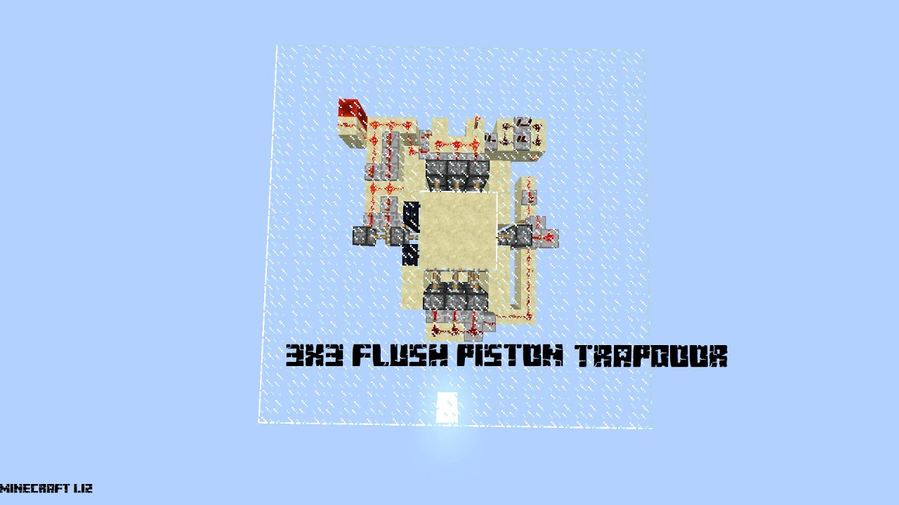 3x3 Flush Piston Trapdoor Minecraft 112 Youtube Schematic